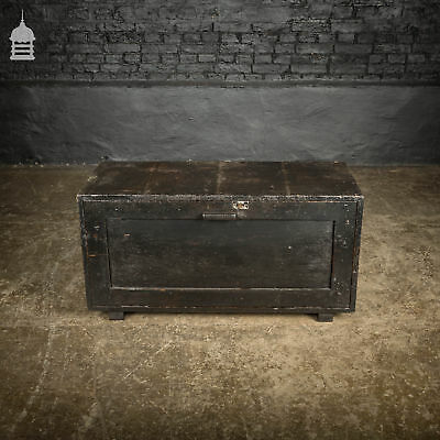 Vintage Pine Side Opening Industrial Carpenters Tool Box with Black Paint Finish