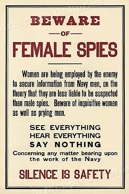"1917 ""Beware of Female Spies!"" World War I Espionage Poster - 24x36"