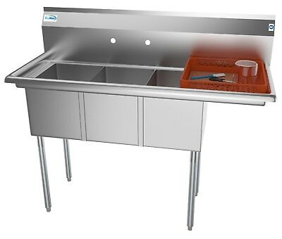 """3 Three Compartment NSF Stainless Steel Commercial Kitchen Sink w Drainboard 51"""""""