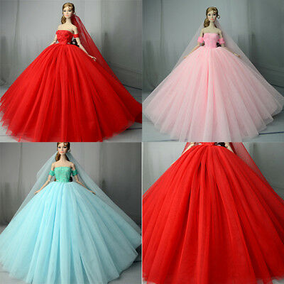 Handmade doll wedding dress for 1/6 dolls evening party gown clothes SC