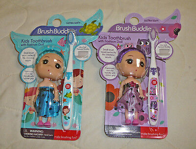 2pk Brush Buddies Girls Kids Ultra Soft Toothbrush with Doll Mermaid Unicorn Owl