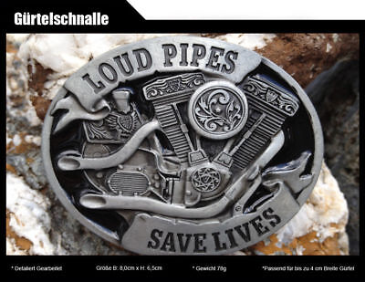Biker Belt Buckle V Twin Motorcycle Engine Loud Pipes Red Authentic Bergamot