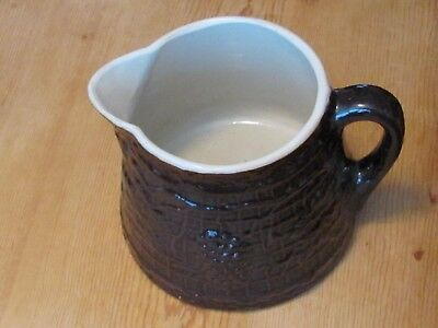 Vintage Stoneware Pitcher Brown w/Grape Clusters-Leaves-Lattice; Uhl? Pottery