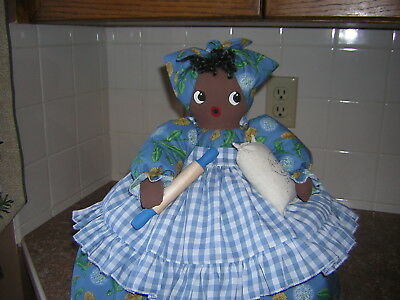 ~~TOASTER COVER DOLL~~2 slice toaster~~Black Americana Mammy~~Pretty in Blue
