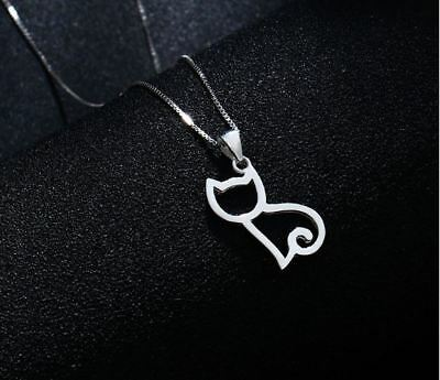 Cat Charm Pendant Chain Necklace 925 Sterling Silver Women Jewellery Lover Gifts