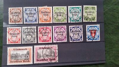 Germany Third Reich 1939 Mich 716-729  Danzig overprints complete  used Cat E220