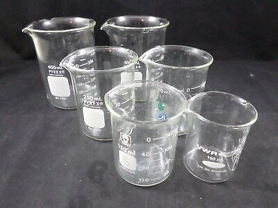 Lot of 6 100-400mL Low Form Griffin Beaker Standard Duty BOMEX PYREX VWR -K