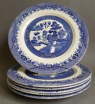 Six Barratts Staffordshire Blue Willow Pattern 10 inch Dinner Plates Plate :C9