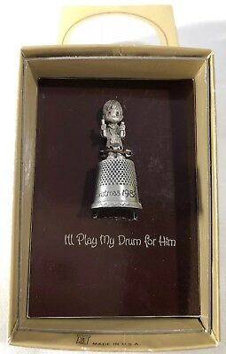"Precious Moments 1982 Little Drummer Boy Pewter Silverplate Thimble 1 3/4"" IOB"