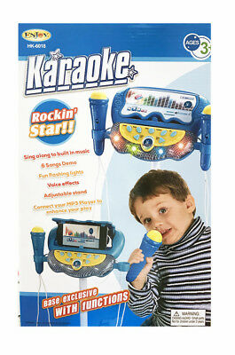 Kids Music Play Toys Set Stand With 2 Microphones Blue Karaoke Machine MP3