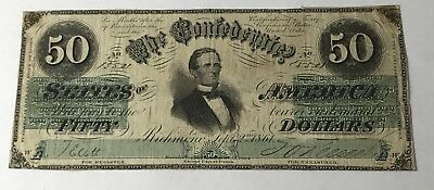 SCARCE 1861 US CIVIL WAR CONFEDERATE T-16 $50 Note