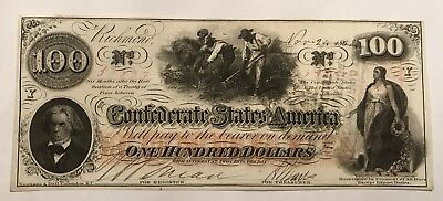 Rare 1862 CIVIL WAR CONFEDERATE $100 NOTE Ex-Cond Richmond Va 3 Stamps On Back