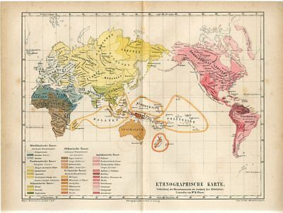 1876 WORLD ETHNOGRAPHIC PEOPLE RACES MAP Antique Map