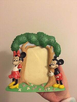 Vintage Classic Disney Micky And Minnie Mouse Picture Frame 3D Disneyland Repaie