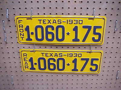 1930 Texas License Plate Set Or Pair Professionaly Restored Very Nice Plates