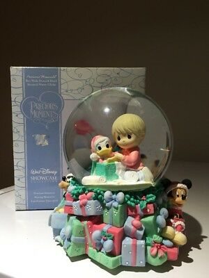 Disney Precious Moments Snowglobe Boy With Donald Duck Mickey & Goofy Wind-Up