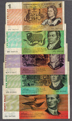 Commonwealth of Australia 1968-69 Phillips/Randall $1-20 Notes R73/R83/R303/R404