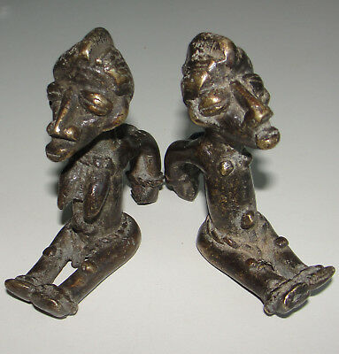 Fine Quality 2 Super PAIR Bronze Statues Very Old African Dogon Figure Baule Art