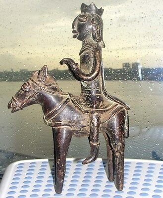 Antique Africa Tribal Chad / Dogon Bronze Horseman Horse Donkey African Statue