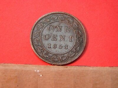1858 Canadian Large One Cent Copper Coin First Year