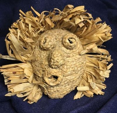 Iroquois corn husk mask, small, 5 1/2 inches tall and wide