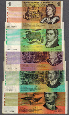 Set of Commonwealth of Australia 1972 Phillips/Wheeler $1-20 Banknotes
