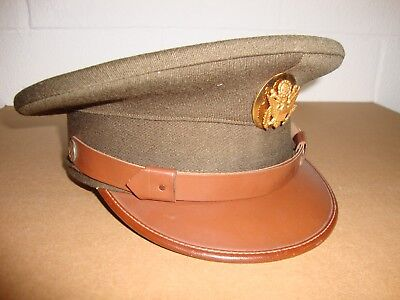Vintage WWII / Korean War US Army Green Wool Enlisted Officer Hat Size 7 NICE