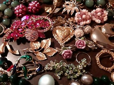 100 PC VINTAGE JEWELRY LOT w/ RHINESTONES, STERLING 925, MANY MARKED BEAUTIFUL!