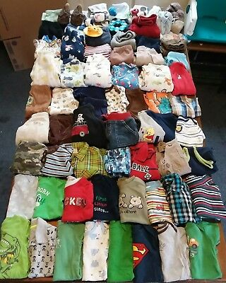 Huge 79 Piece Lot Baby Boy Clothes Sizes 6-9 & 9 months Sleepers winter outfits.