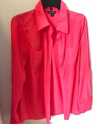 c09750f8 George Womens Collared Button Down Long Sleeve Shirt Pink Size Small 4 - 6