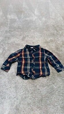 Baby Boy's Navy Checked/Plaid Shirt 3-6 Months