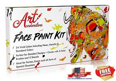 Face Paint Kit - Set of 24 Professional & Body Makeup Colors for Kids |...
