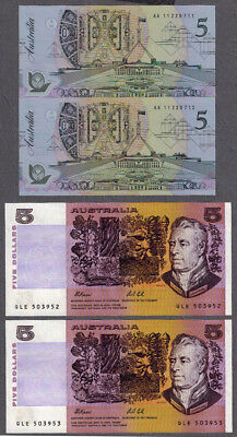 Australian 1991-92 Fraser/Cole $5 Consecutive Pairs Paper/Polymer Note R213/R214