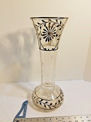 Art Nouveau Ornate Sterling Silver Overlay Clear Sun Flower Etched Glass Vase