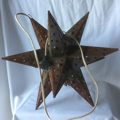 Vintage Star Hanging Light Colored Marbles Punched Tin Tested Rustic Ceiling