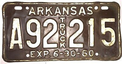 1960 Arkansas Vintage, Rare,truck License Plate!   Difficult To Find!    Used!
