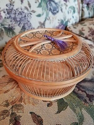 RARE Antique Chinese Japanese Cricket Cage wooden basket