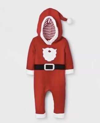 NWT Cat And Jack Red Santa Christmas One Piece Jumper Outfit 18 Months