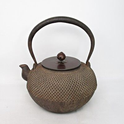 A422: Japanese iron kettle TETSUBIN with fine dot relief ARARE pattern