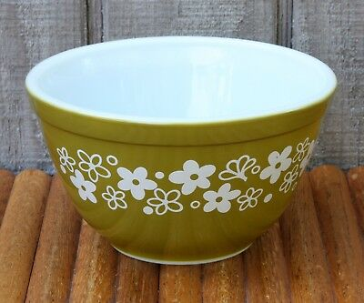"""Vintage Pyrex USA 401 Green Butterfly Mixing Serving Bowl 1 1/2 Pint 6"""" Nesting"""