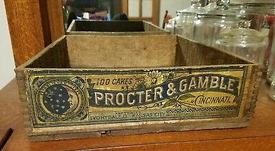 Vintage Antique Ivory Soap Wood Advertising Box Sign Crate