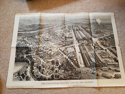 1876 World's Fair Centennial Exhibition Harpers Balloon View of Grounds