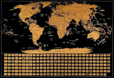 """World Scratch Map, Scratch Off Wall Poster, Extra Large 35"""" x 25"""" Scratch Map"""