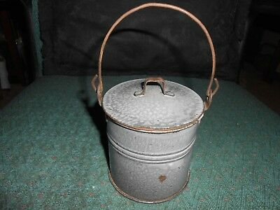 """Antique Small 3 1/2"""" Gray Graniteware Covered Handled Pail/Bucket with Lid"""