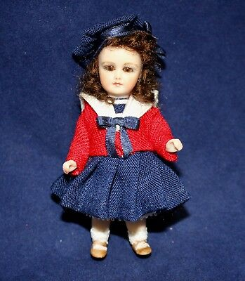 Miniature Porcelain Antique Reproduction Bleuette Doll by Pat Boldt
