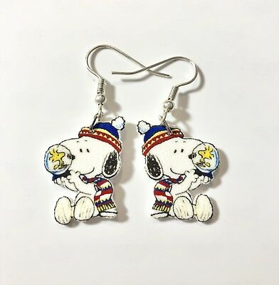 Snoopy Earrings Woodstock In Snow G𝚕𝚘𝚋𝚎 Charms Just Unique and Adorable
