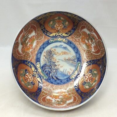 A725: Japanese bowl of old IMARI beautiful porcelain with fantastic painting