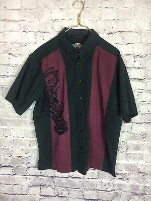 Harley Davidson Motorcycle Flaming Eagle Embroidered Button Up Shirt Mens Large