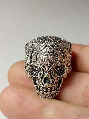 Hand Carved Chinese Collectable Tibet Silver Skull Ring z2000
