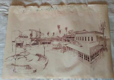 Knotts Berry Farm Theme Park Sepia Vellum: Roaring 20s Plaza - RARE Drawing